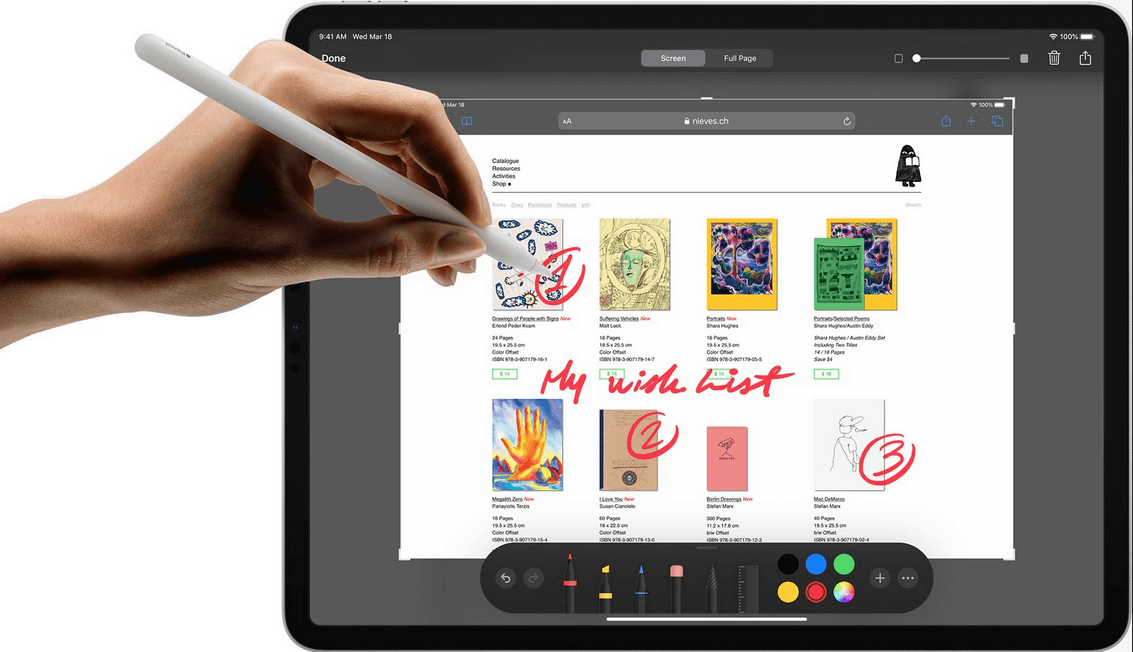 Apple Pencil drawing on iPad Pro 2020 12.9 inches