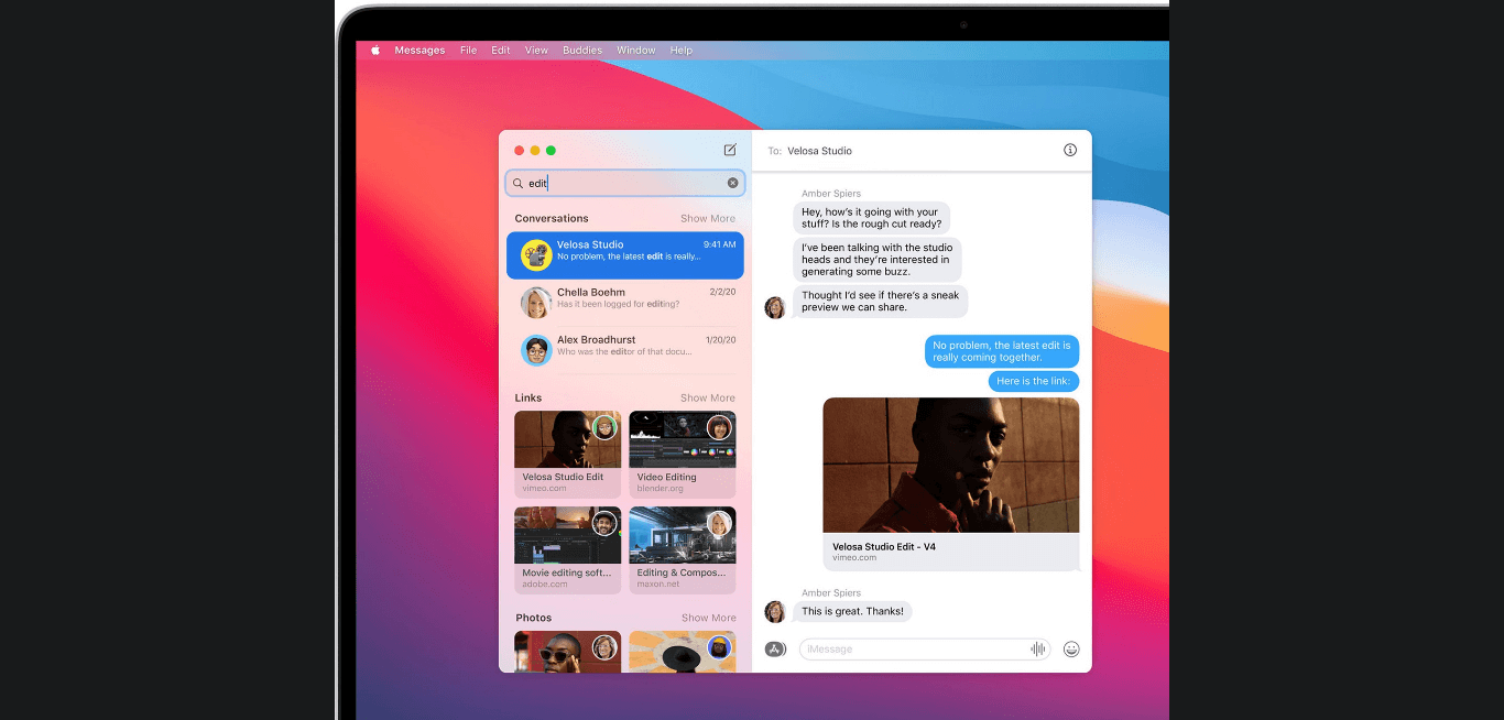 New imessages effects in macOS Big Sur