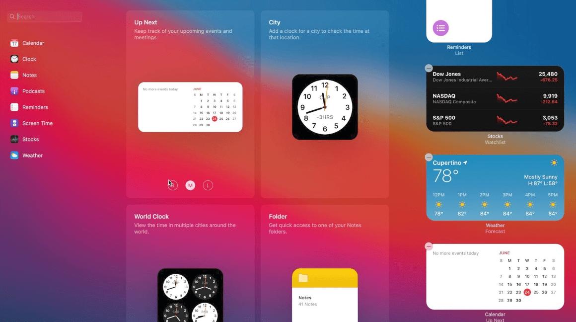 Updated Widgets in new macOS