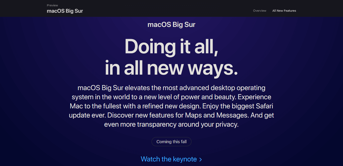 macOS Big Sur preview page