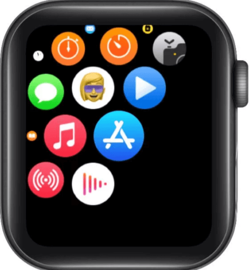 Apple watch series 6 menu with apps icons