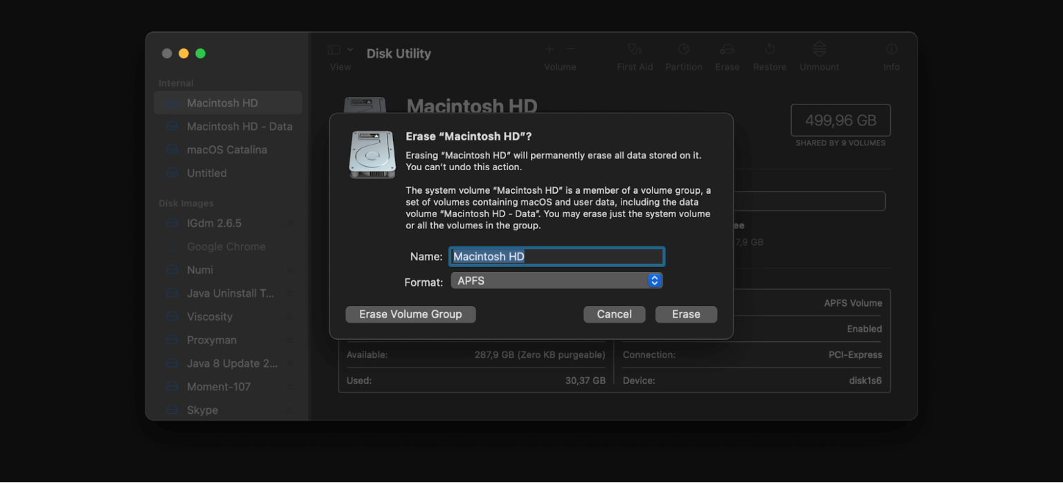 Disk utilty dashboard to delete the old macOS data