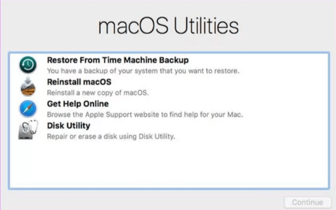 MacOS utility screen of macOS recovery mode with four different options
