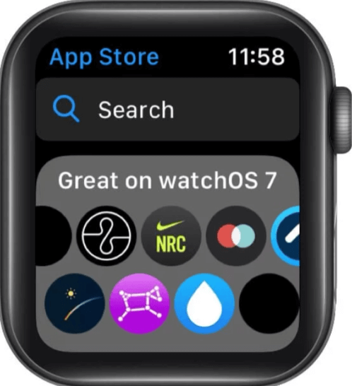 Searching apps to reinstall deleted Apple Watch app in series 6