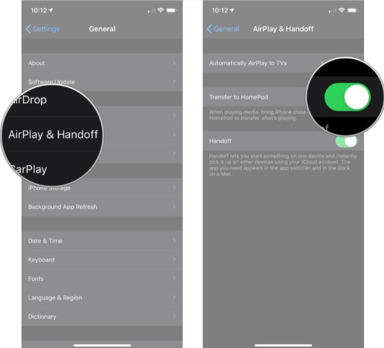 handoff settings step in iPhone before using handoff with homepod mini