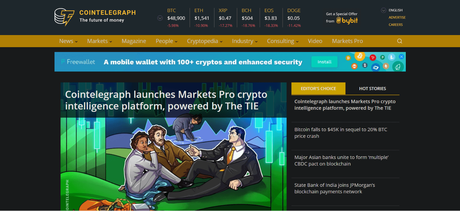 CoinTelegraph One of the Best Cryptocurrency apps to track the Crypto world